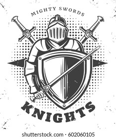Vintage monochrome knights template in steel armor with medieval sword and shield on halftone background vector illustration