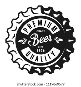 Vintage monochrome lager beer label with inscriptions on bottle cap isolated vector illustration