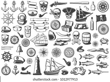 Vintage monochrome marine icons collection with sea animals marine nautical diving and piratical elements isolated vector illustration