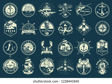 Vintage monochrome maritime emblems set with nautical and marine elements on blue background isolated vector illustration