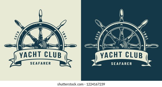 Vintage monochrome maritime logo with ship wheel and inscription on ribbon isolated vector illustration