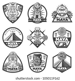 Vintage monochrome maya labels set with tribal masks ceremonial idols calendar pyramid coins vase map isolated vector illustration