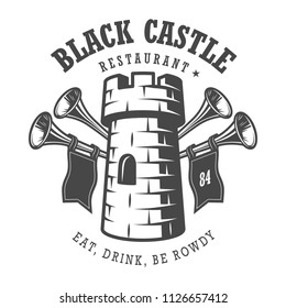 Vintage monochrome medieval logo with tower and trumpets isolated vector illustration