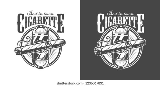 Vintage monochrome men's club label with cigar guillotine and inscriptions isolated vector illustration