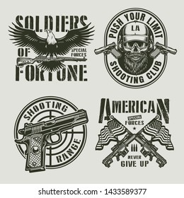 Vintage monochrome military logos with eagle holding carbine rifle pistol gun sight bearded and mustached special forces soldier skull crossed sniper rifles USA flags isolated vector illustration