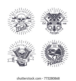 Vintage monochrome motorcycle emblems set with inscriptions skull engine helmet crossed pistons and wrenches isolated vector illustration
