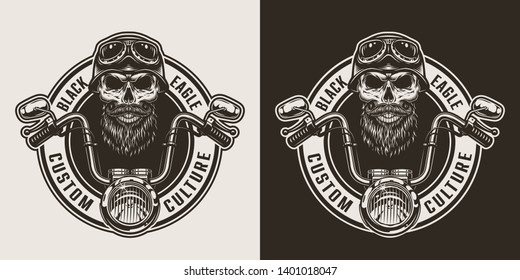Vintage monochrome motorcycle label with moto steering wheel bearded and mustached skull in biker helmet and goggles isolated vector illustration