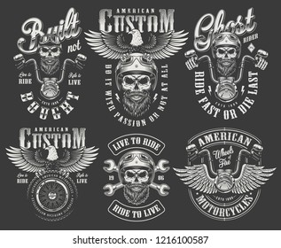 Vintage monochrome motorcycle labels set with bearded and mustached biker skull in helmet holding steering wheel crossed wrenches tire eagle isolated vector illustration