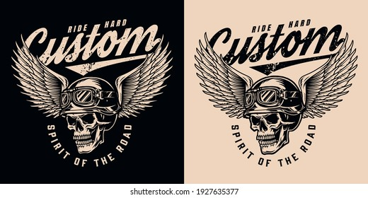 Vintage monochrome motorcycle logo with inscriptions and skull in biker helmet and goggles with eagle wings isolated vector illustration