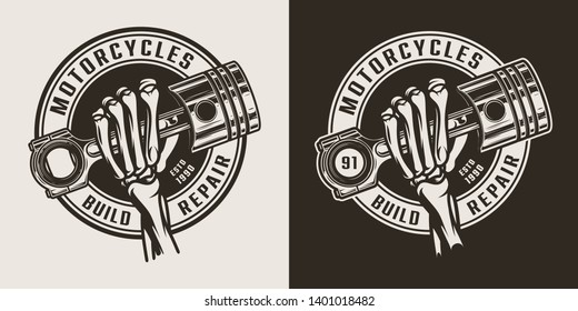 Vintage monochrome motorcycle workshop round logo with skeleton hand holding engine piston isolated vector illustration