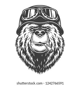 Vintage monochrome motorcyclist bear head smoking cigar and wearing motorcycle helmet and goggles isolated vector illustration