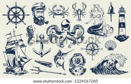 Vintage monochrome nautical elements