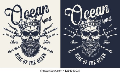 Vintage monochrome nautical label with skull in crown and crossed poseidon trident isolated vector illustration