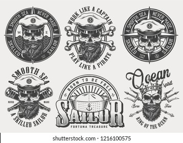 Vintage monochrome nautical labels set with inscriptions skulls in sea captain hat crown crossed bones spyglasses poseidon tridents isolated vector illustration