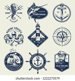 Vintage monochrome nautical logos with seahorse crossed poseidon tridents swordfish anchor octopus lighthouse navigational compass sailor ship wheel isolated vector illustration