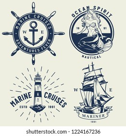 Vintage monochrome nautical logos set with ship wheel mermaid lighthouse isolated vector illustration
