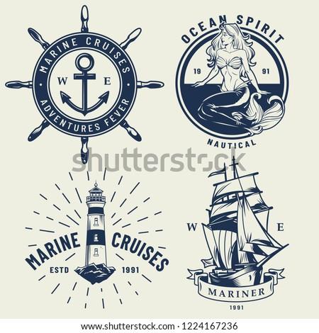 ab3927543 Vintage monochrome nautical logos set with ship wheel mermaid lighthouse  isolated vector illustration