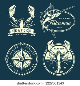 Vintage monochrome nautical and marine labels with navigational compass lobsters marlin isolated vector illustration
