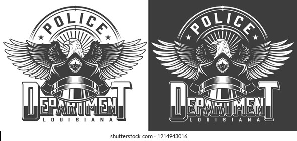 Vintage monochrome police label with inscriptions policeman hat and eagle isolated vector illustration