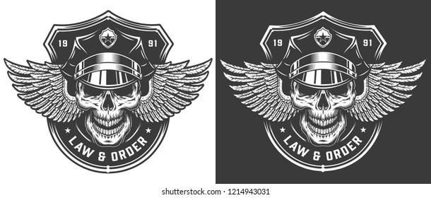 Vintage monochrome police logo template with policeman skull in hat and eagle wings isolated vector illustration