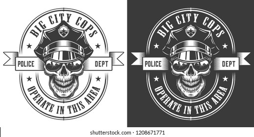 Vintage monochrome police officer logo with skull in policeman hat and sunglasses isolated vector illustration