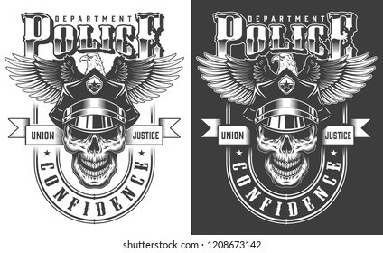 Vintage monochrome policeman label with skull in police hat and eagle isolated vector illustration