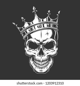 Vintage monochrome prince skull in crown isolated vector illustration