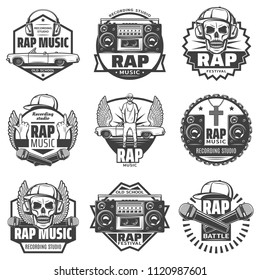 Vintage monochrome rap music labels set with rapper microphones headphones car loudspeaker boombox cap skull chain necklace isolated vector illustration