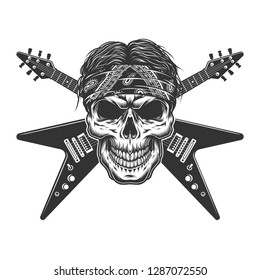 Vintage monochrome rock musician skull with crossed electric guitars isolated vector illustration