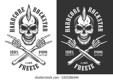 Vintage monochrome rock and roll emblem of skull with mohawk and skeleton hands showing rock signs isolated vector illustration