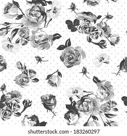 Vintage monochrome roses pattern