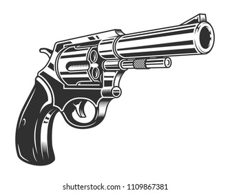 Vintage monochrome six shooter revolver concept isolated vector illustration