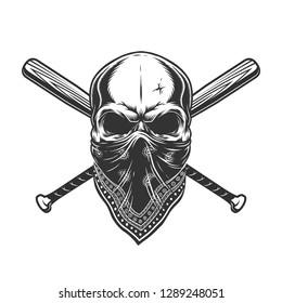 Vintage monochrome skull in bandana with crossed baseball bats isolated vector illustration