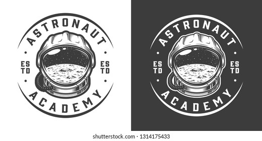 Vintage monochrome space logo with moon surface in astronaut helmet isolated vector illustration