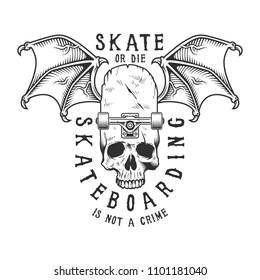 Vintage monochrome sport skateboarding logotype with winged skull skateboard and inscriptions isolated vector illustration