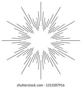 Vintage monochrome sunburst, starburst, bursting rays. Trendy cool flat design element isolated on white.