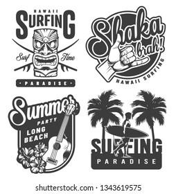 Vintage monochrome surfing emblems with hawaiian tiki mask shaka hand sign ukulele hibiscus flowers palms surfer holding surfboard isolated vector illustration