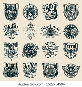 Vintage monochrome tattoo studio labels with scary insects diamond crown cat skull cross spider medieval keys dice skeleton hand holding rose snake entwined with skull isolated vector illustration