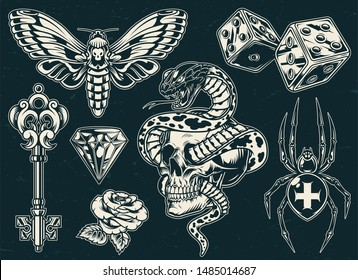 Vintage monochrome tattoos collection with beautiful rose butterfly filigree medieval key cross spider dices diamond entwined snake and skull isolated vector illustration
