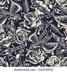 Vintage monochrome tattoos seamless pattern with beautiful roses swallow knife tattoo machine heart in barbed wire with fire vector illustration