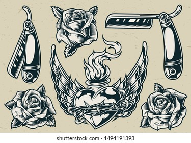Vintage monochrome tattoos set with roses straight razors fiery winged heart in barbed wire isolated vector illustration