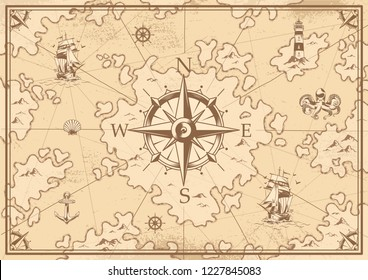 Vintage monochrome treasure map concept with navigational compass lighthouse ship octopus seashell anchor wheel islands vector illustration