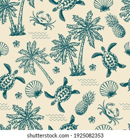 Vintage monochrome tropical seamless pattern with exotic flowers palm trees sea waves pineapples turtles seashells crabs vector illustration