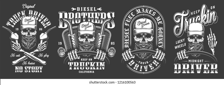 Vintage monochrome truck driver labels set with trucker skull holding steering wheel and fuel pump isolated vector illustration
