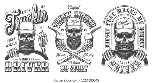 Vintage monochrome trucker emblems collection with truck driver skulls holding steering wheel fuel pumps and showing middle finger isolated vector illustration