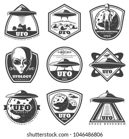 Vintage monochrome UFO labels set with alien spaceships unknown planets extraterrestrial life forms isolated vector illustration