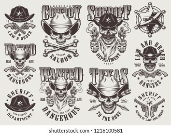 Vintage monochrome wild west labels set with skulls in cowboy hat sheriff badge crossed bones pistols arrows isolated vector illustration