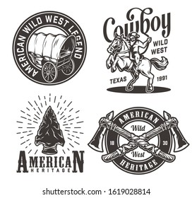 Vintage monochrome wild west prints set with old wagon cowboy riding horse flint arrowhead crossed tomahawks isolated vector illustration