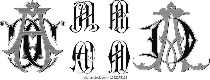 Vintage monogram AA,AB,AC,AD tattoo.Vector