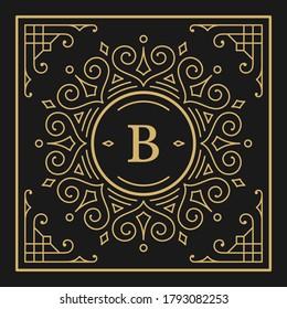 Vintage monogram alphabet letter B with decorative flourish ornament frame. Ancient capital letter monogram and filigree ornate border. Fancy victorian engraved initials vector symbol.